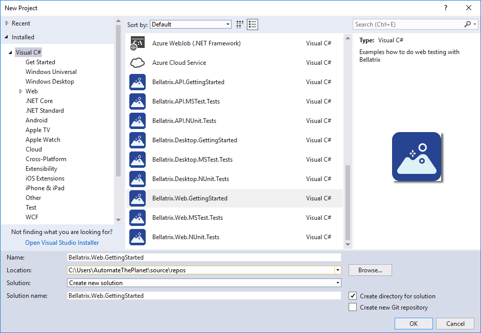 Create Getting Started Visual Studio